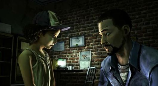 Clementine and Lee, main characters in  The Walking Dead .