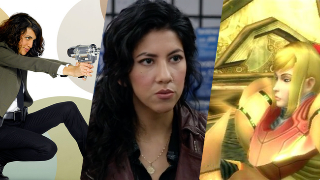 Examples: Wendy Watson,   The Middleman ;  Rosa Diaz,   Brooklyn Nine-Nine ;  Samus Aran,  Metroid